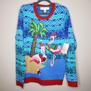 Joy Sweaters Ugly Christmas Sweater Flamingos    V